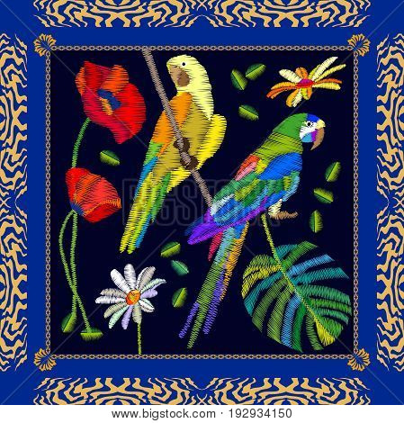 Silk scarf pattern with parrots, poppies and chamomiles. Colorful composition with bohemian motifs.
