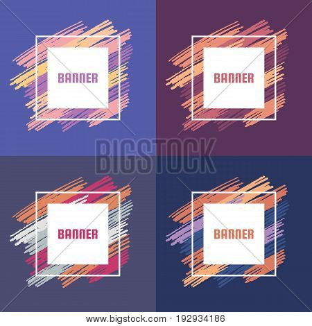 Abstract banner vector concept illustration with brush strokes. Modern art background for presentation, brochures, gift cards, flyers, invitations. Geometric design elements. Set of four variations.