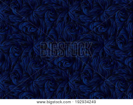 blue abstract pattern. floral black background. Dark background.