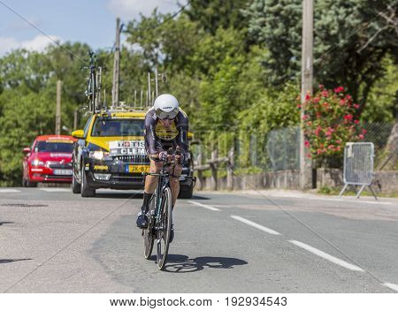 Bourgoin-Jallieu France - 07 June 2017: The Dutch cyclist Stef Clement of LottoNL-Jumbo Team riding during the time trial stage 4 of Criterium du Dauphine 2017.