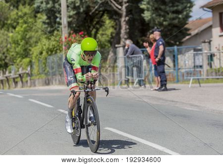 Bourgoin-Jallieu France - 07 June 2017: The American cyclist Andrew Talansky of Cannondale-Drapac Team riding during the time trial stage 4 of Criterium du Dauphine 2017.