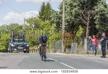 Bourgoin-Jallieu France - 07 June 2017: The Spanish cyclist Jesus Herrada Lopez of Movistar Team riding during the time trial stage 4 of Criterium du Dauphine 2017.