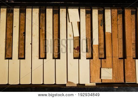 The Old Piano Keys Closeup On The Street.