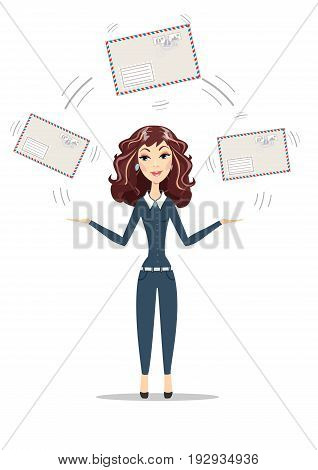 Abstract Businesswoman holding big envelope. Women in business. For use in presentations. Stock flat vector illustration