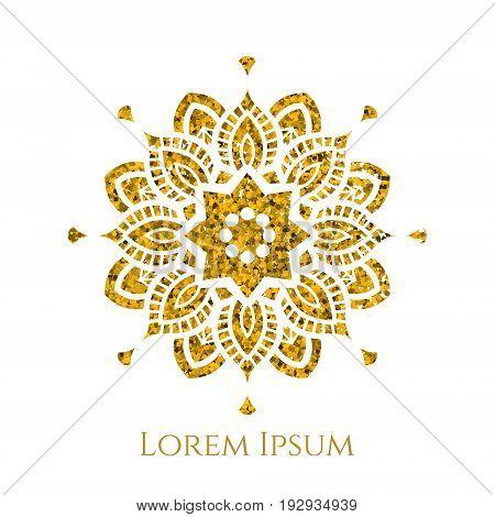 Elegant retro flourish decor. Vintage logo design with gold glitter texture. Mosaic ornament for boutique restaurant cafe flower shop emblem. EPS 10 vector illustration.
