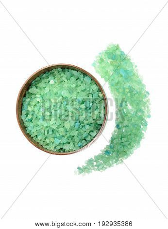 Aromatic natural mineral salt in wooden bowl , on a white background