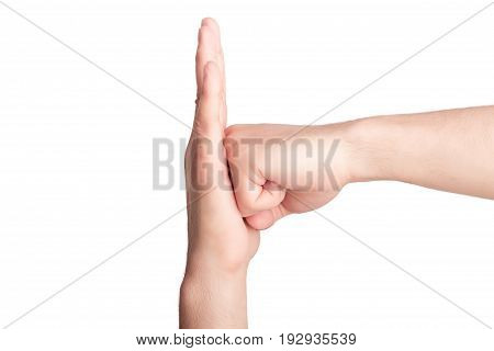 Man fist bumping into another hand isolated on white background poster