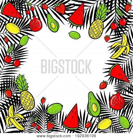 Summer tropical fruits vector illustration. Hand drawn fashion patches : lemon avocado pineapple banana watermelon on palm leaves background. Pop art patche pin badge 80s style