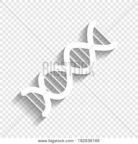 The DNA sign. Vector. White icon with soft shadow on transparent background.