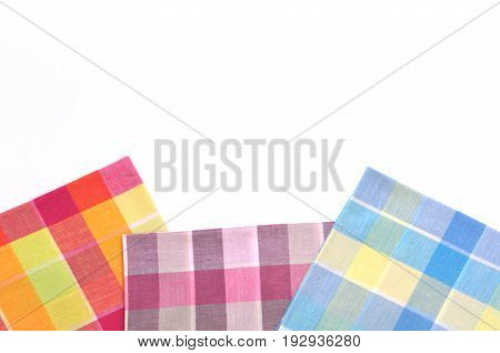 stack of folded handkerchiefs isolated on white background, copy space