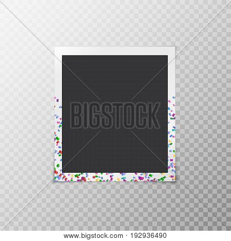 Simple photo frame with multi-colored confetti on a transparent background