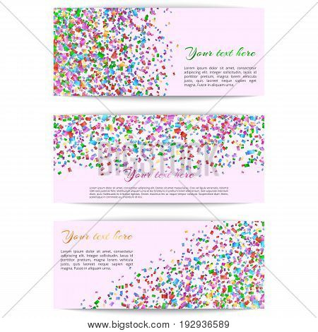 A collection of horizontal banners with multicolored confetti on a colored background