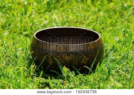 Tibetian singing bowl on the grass closeup.