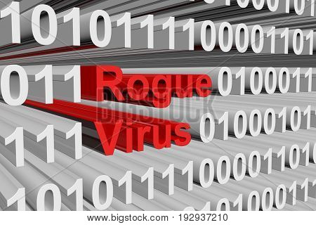 rogue virus presents in the form of binary code 3d illustration