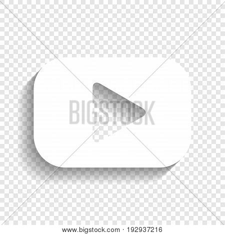 Play button sign. Vector. White icon with soft shadow on transparent background.