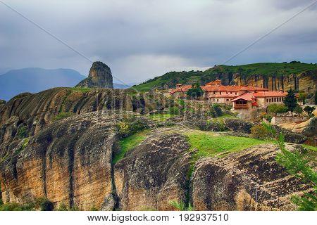 Great Meteoron Monastery and beautiful landscapes of Meteora in Kalambaka, Greece