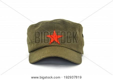 chinese red star cap (mao style hat) on white background