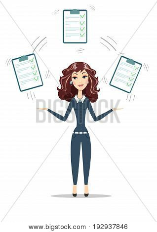 Businesswoman with a clipboard with green tick . Flat design clip board and check marks