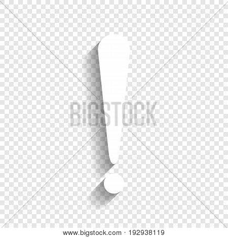 Attention sign illustration. Vector. White icon with soft shadow on transparent background.
