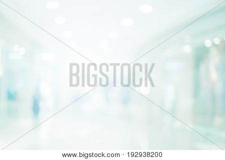 abstract blur contemporary office interior blue background.