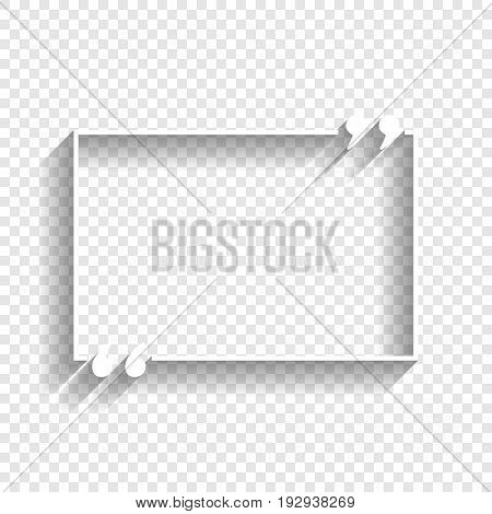 Text quote sign. Vector. White icon with soft shadow on transparent background.