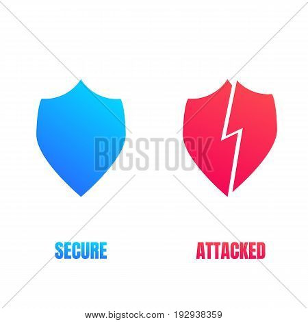 Cyber security shield icons. Computer security signs for secure and cyber attacked workflow