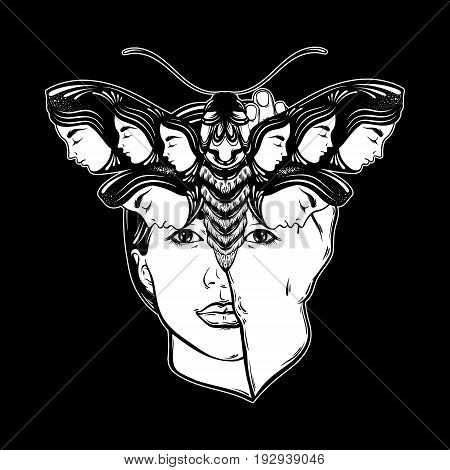 Vector hand drawn illustration of moth with female faces on the wings and face of pretty ypung girl. Tattoo art. Template for card poster banner print for t-shirt.