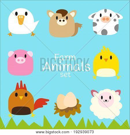 Vector set of cute chubby Farm animals: duck, horse, cow, pig, chicken, hen, egg, sheep.