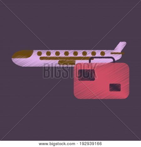 Flat Icon in Shading Style aircraft luggage . Airplane and suitcase