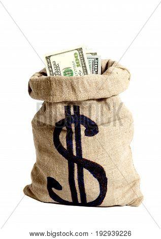 Money Bag With Dollar Symbol Isolated On White