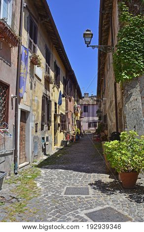 Buildings in the old village or borgo of Ostia Antica near Rome Italy
