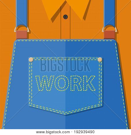 Blue jeans apron with outsets and pocket. Orange shirt. Manual worker clothes. Vector illustration in flat style