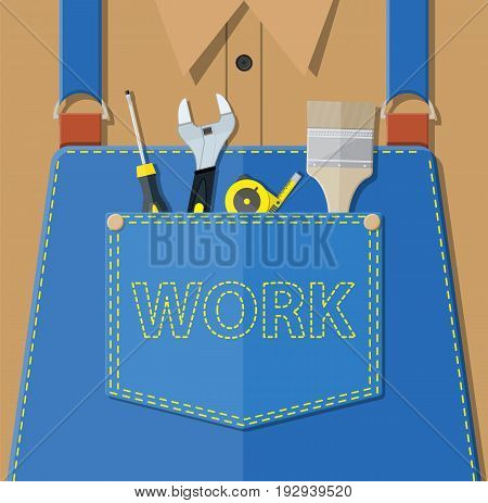 Blue jeans apron with outsets and pocket. Orange shirt. Screwdriver, tape measure, wrench, brush. Manual worker clothes. Vector illustration in flat style