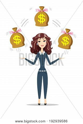 Abstract Businesswoman holding bags full of money. Women in business. For use in presentations. Stock flat vector illustration