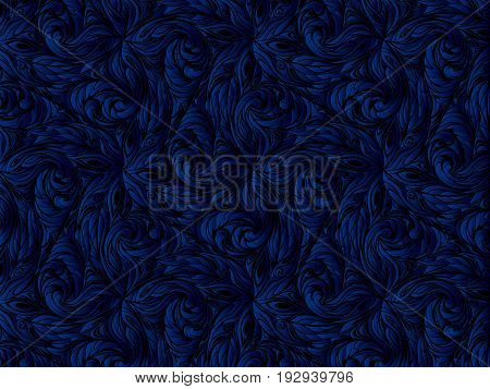 blue abstract pattern. floral black background. Dark background.