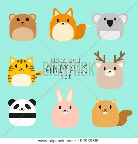 Vector set of cute chubby Woodland animals - bear, fox, koala, tiger, deer, panda, rabbit, squirrel.
