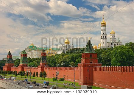 Panoramic view on Moscow Red Square, Kremlin towers stars and Kremlin Palace, Ivan bell tower church. Red Square city park. Famous Moscow holidays vacation tours to Kremlin Red Square  Putin residence