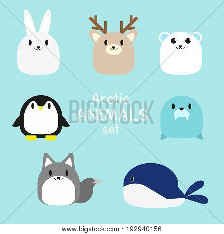 vector set of cute chubby Arctic Animals:Snowshoe hare,deer,polar bear,penguin,seal,Arctic fox,whale.isolated vector.