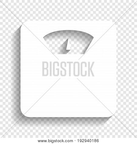 Bathroom scale sign. Vector. White icon with soft shadow on transparent background.