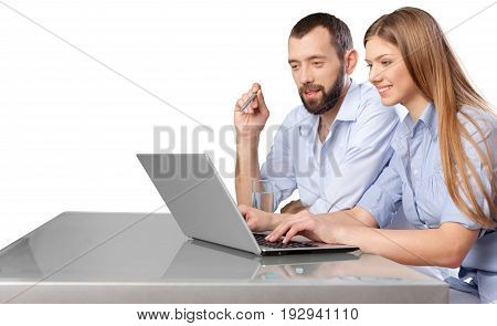 Business couple laptop work computer female sitting