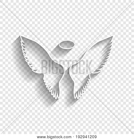 Wings sign illustration. Vector. White icon with soft shadow on transparent background.
