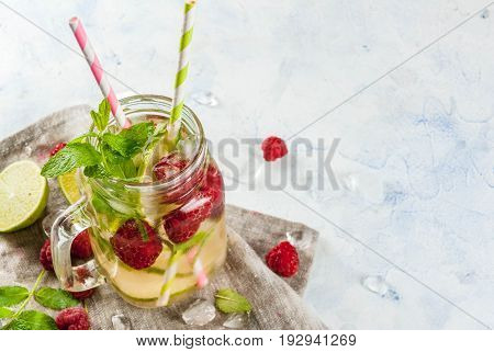 Infused Water With Lime, Mint, Raspberries
