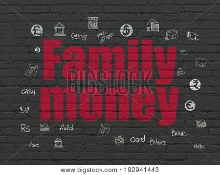 Banking concept: Painted red text Family Money on Black Brick wall background with  Hand Drawn Finance Icons