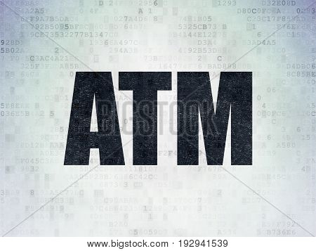 Banking concept: Painted black word ATM on Digital Data Paper background
