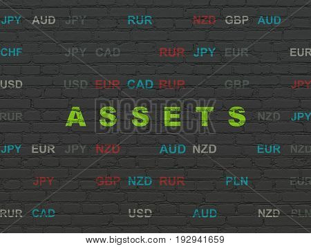 Money concept: Painted green text Assets on Black Brick wall background with Currency