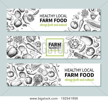 Vegetable hand drawn vintage vector banner. Farm Market poster. Vegetarian sketch of organic products. Detailed food drawing. Great for menu, template, brochure, label, logo, flyer, label