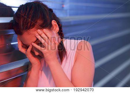 Beautiful Girl Feeling Head Pain, Stress And Disorientation.