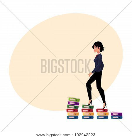 Young pretty businesswoman climbing up career ladder shown as document folder steps, cartoon vector illustration with space for text. Folders of documents as corporare career ladder concept