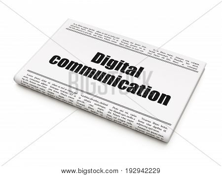 Data concept: newspaper headline Digital Communication on White background, 3D rendering
