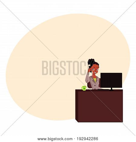 Black, African American businesswoman, secretary talking by phone, calling at office table, cartoon vector illustration with space for text. Black businesswoman, secretary talking by phone